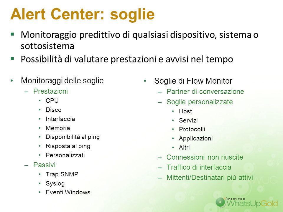 Alert Center: soglie Monitoraggio predittivo di qualsiasi dispositivo, sistema o sottosistema.
