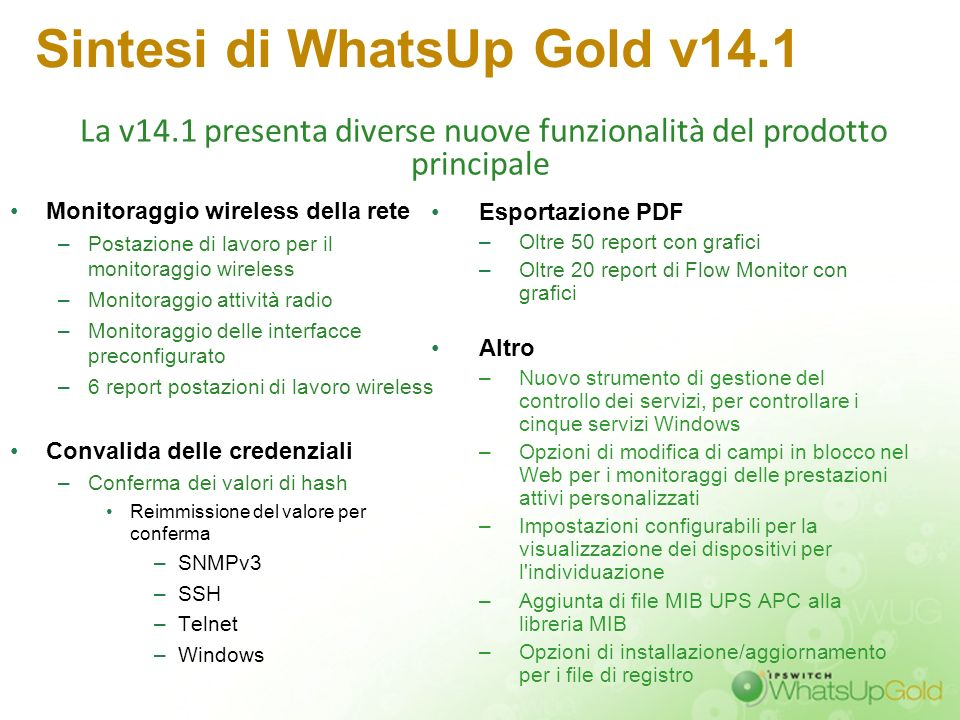 Sintesi di WhatsUp Gold v14.1