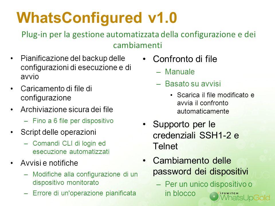 WhatsConfigured v1.0 Plug-in per la gestione automatizzata della configurazione e dei cambiamenti.