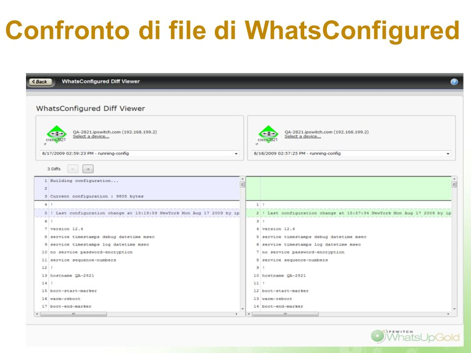 Confronto di file di WhatsConfigured