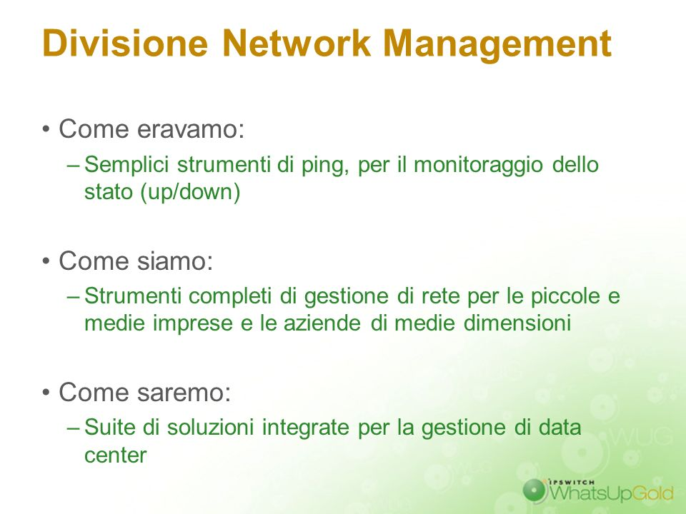 Divisione Network Management
