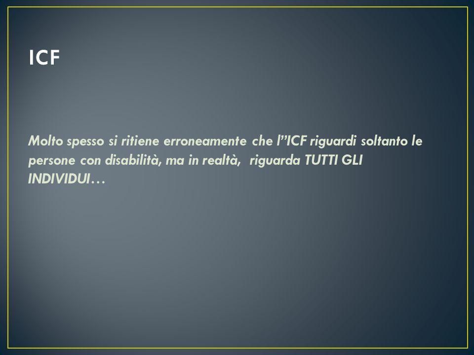 ICF Molto spesso si ritiene erroneamente che l''ICF riguardi soltanto le persone con disabilità, ma in realtà, riguarda TUTTI GLI INDIVIDUI…