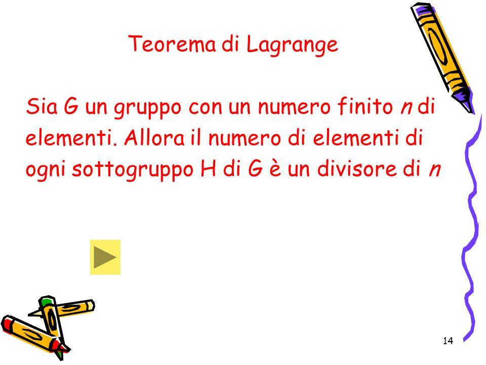 Teorema di Lagrange Sia G un gruppo con un numero finito n di. elementi. Allora il numero di elementi di.
