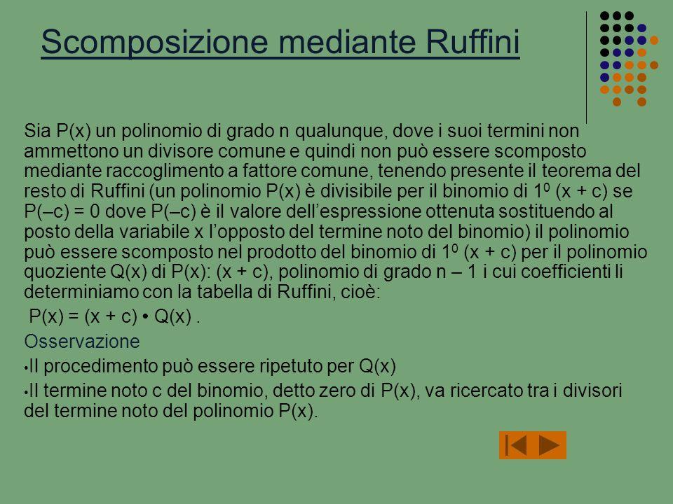 Scomposizione mediante Ruffini