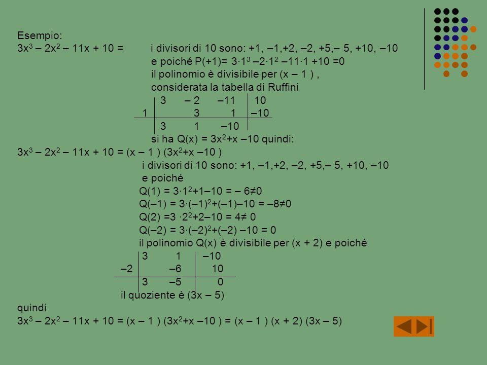 Esempio: 3x3 – 2x2 – 11x + 10 = i divisori di 10 sono: +1, –1,+2, –2, +5,– 5, +10, –10. e poiché P(+1)= 3∙13 –2∙12 –11∙1 +10 =0.
