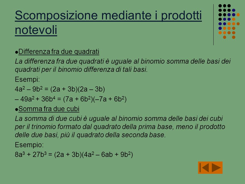 Scomposizione polinomi ppt video online scaricare for Differenza di due quadrati