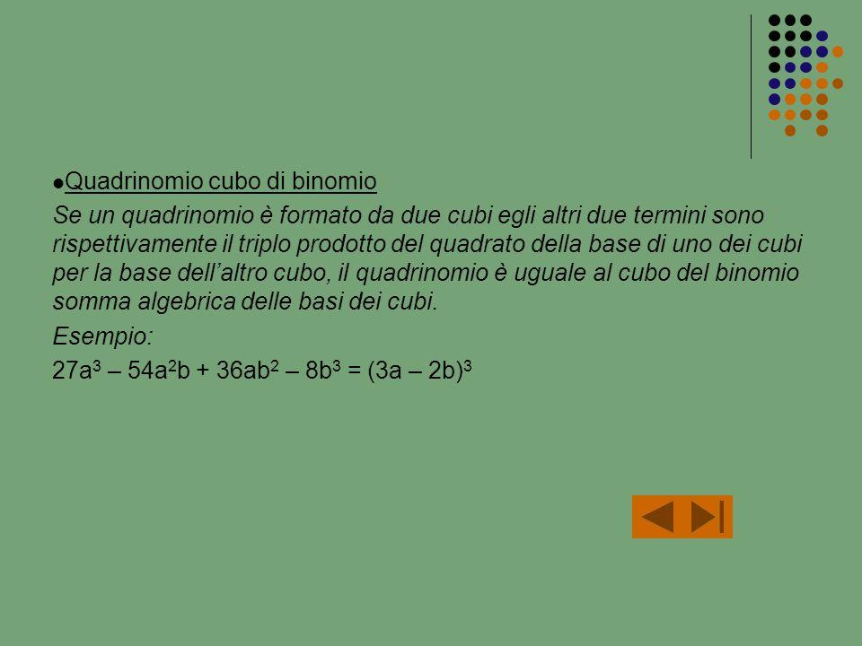 Quadrinomio cubo di binomio