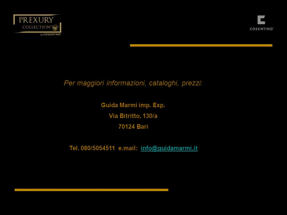 Tel. 080/5054511 e.mail: info@guidamarmi.it