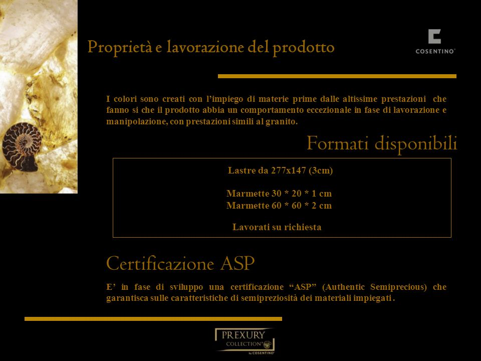 Formati disponibili Certificazione ASP