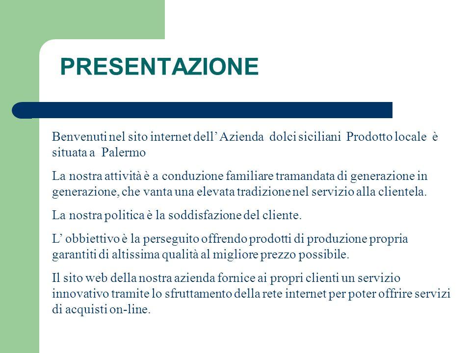 PRESENTAZIONE Benvenuti nel sito internet dell' Azienda dolci siciliani Prodotto locale è situata a Palermo.