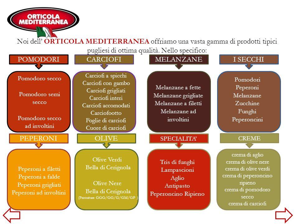 Noi dell' ORTICOLA MEDITERRANEA offriamo una vasta gamma di prodotti tipici pugliesi di ottima qualità. Nello specifico: