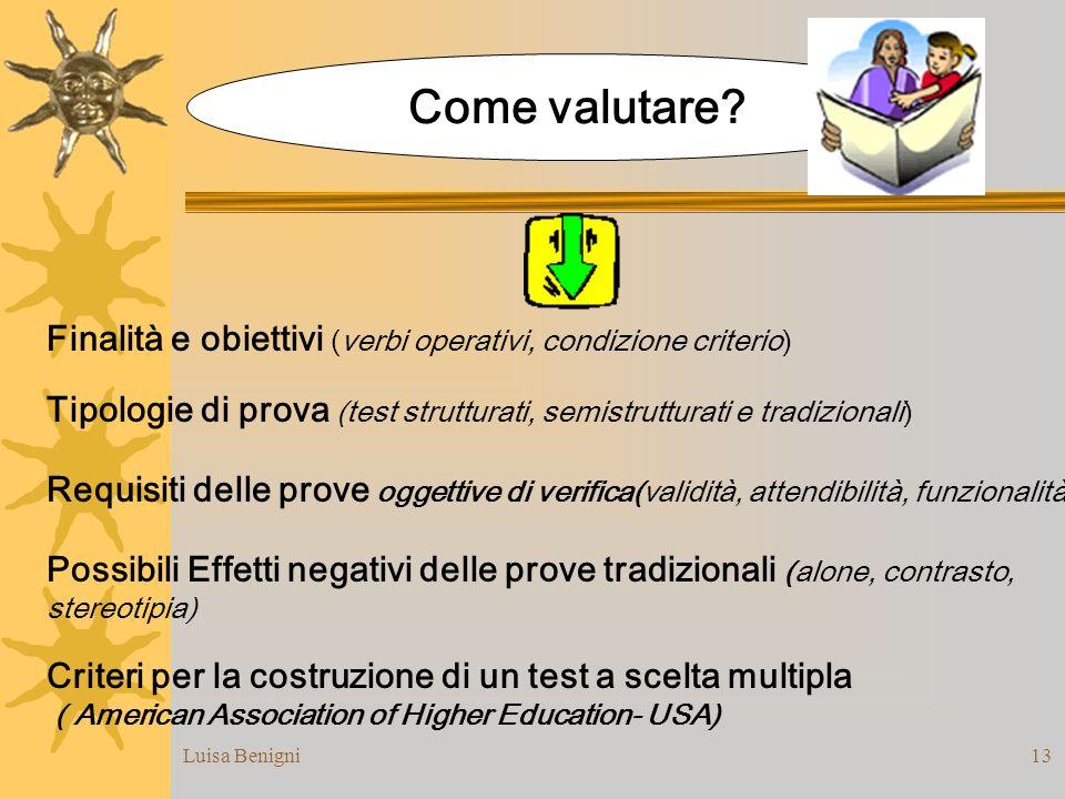 Come valutare Finalità e obiettivi (verbi operativi, condizione criterio) Tipologie di prova (test strutturati, semistrutturati e tradizionali)