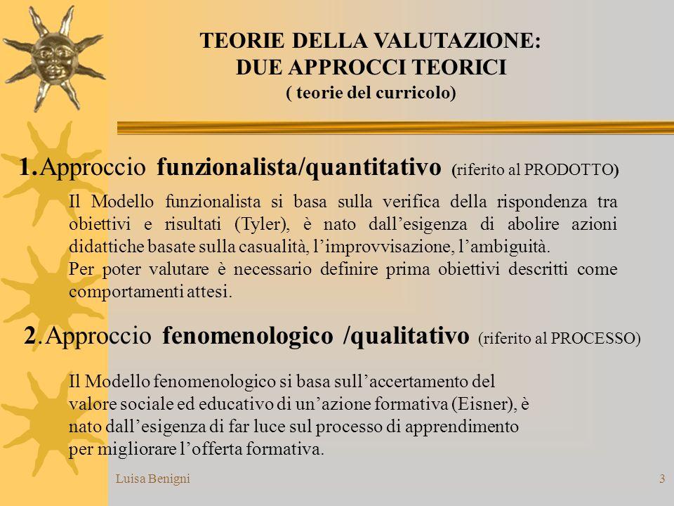 TEORIE DELLA VALUTAZIONE: ( teorie del curricolo)