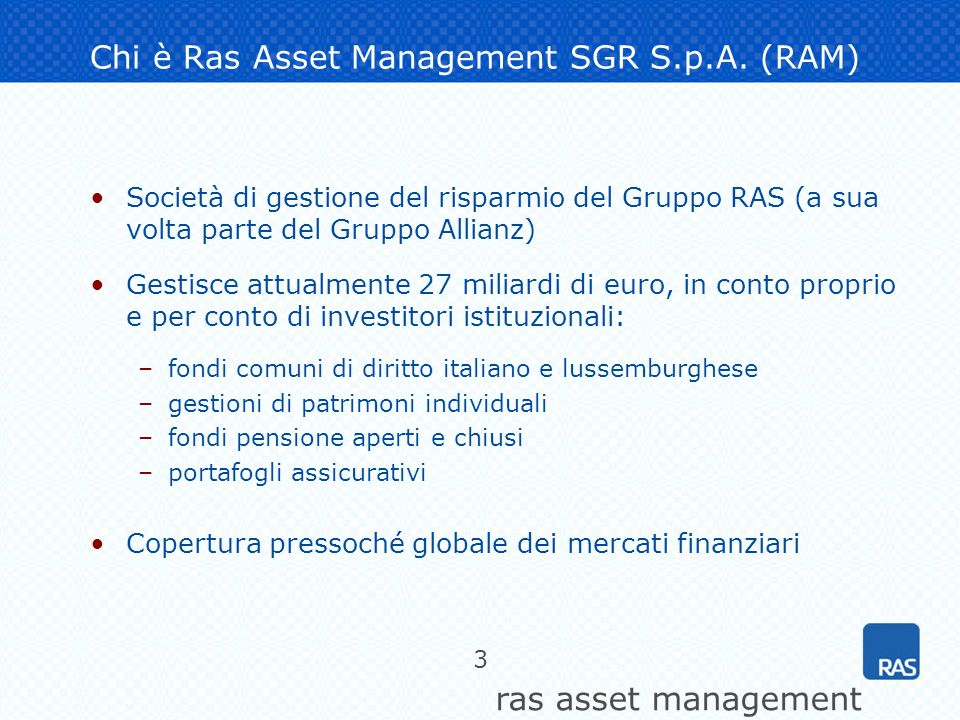 Chi è Ras Asset Management SGR S.p.A. (RAM)