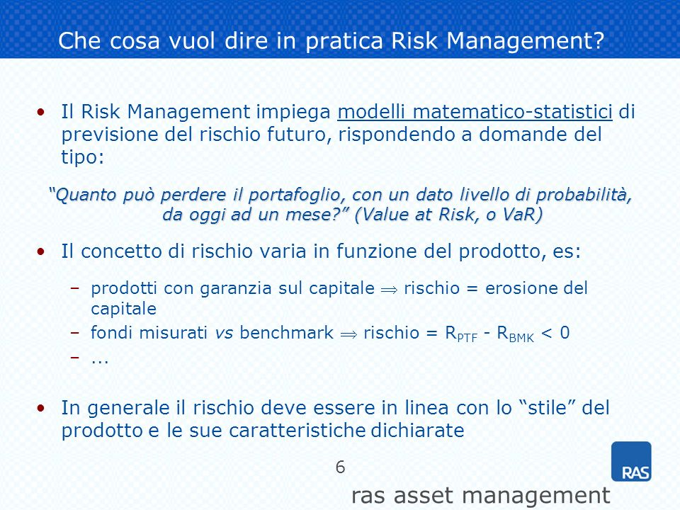 Che cosa vuol dire in pratica Risk Management