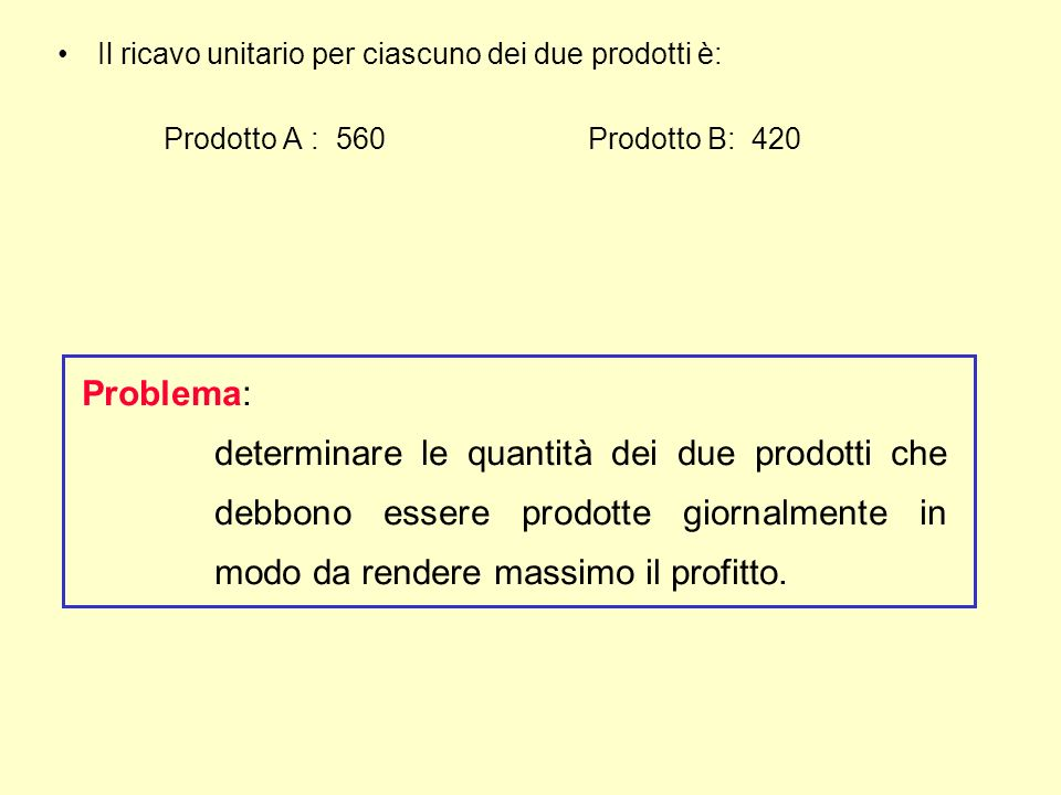 Il ricavo unitario per ciascuno dei due prodotti è: