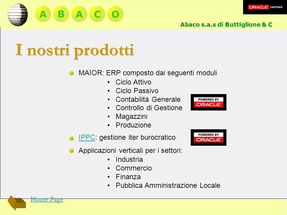 I nostri prodotti A B A C O MAIOR: ERP composto dai seguenti moduli