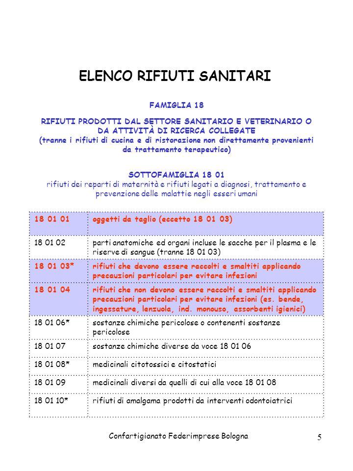 ELENCO RIFIUTI SANITARI