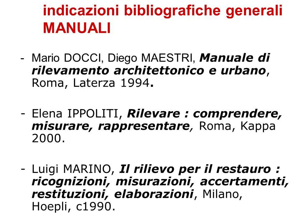indicazioni bibliografiche generali MANUALI