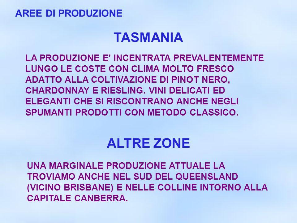 TASMANIA ALTRE ZONE AREE DI PRODUZIONE