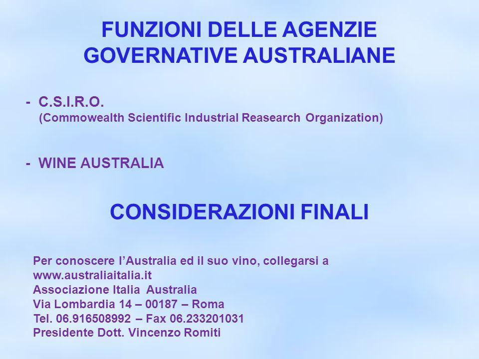 FUNZIONI DELLE AGENZIE GOVERNATIVE AUSTRALIANE CONSIDERAZIONI FINALI