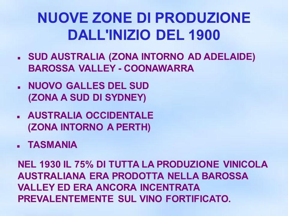 NUOVE ZONE DI PRODUZIONE DALL INIZIO DEL 1900