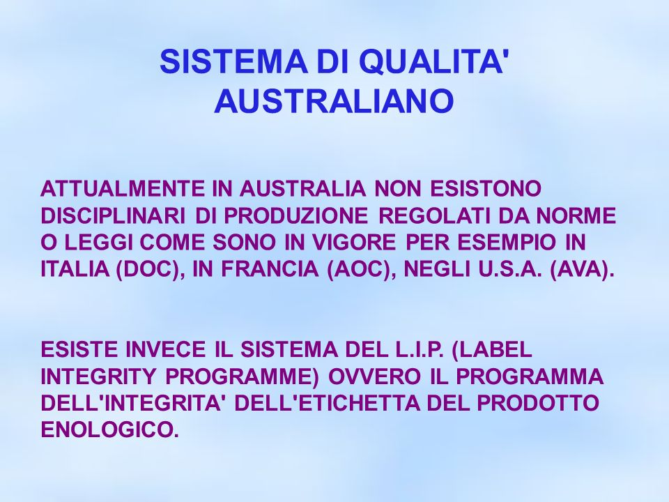 SISTEMA DI QUALITA AUSTRALIANO