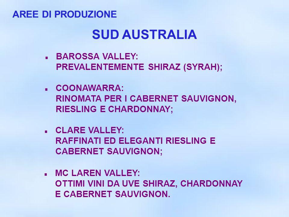 SUD AUSTRALIA AREE DI PRODUZIONE BAROSSA VALLEY: