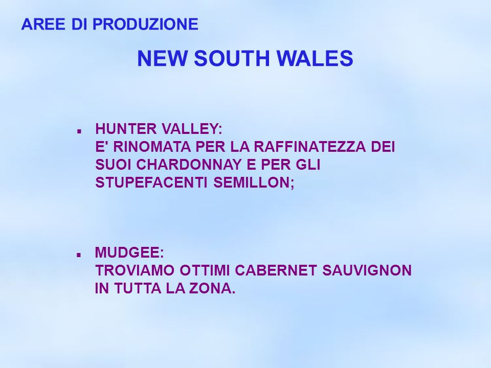 NEW SOUTH WALES AREE DI PRODUZIONE HUNTER VALLEY: