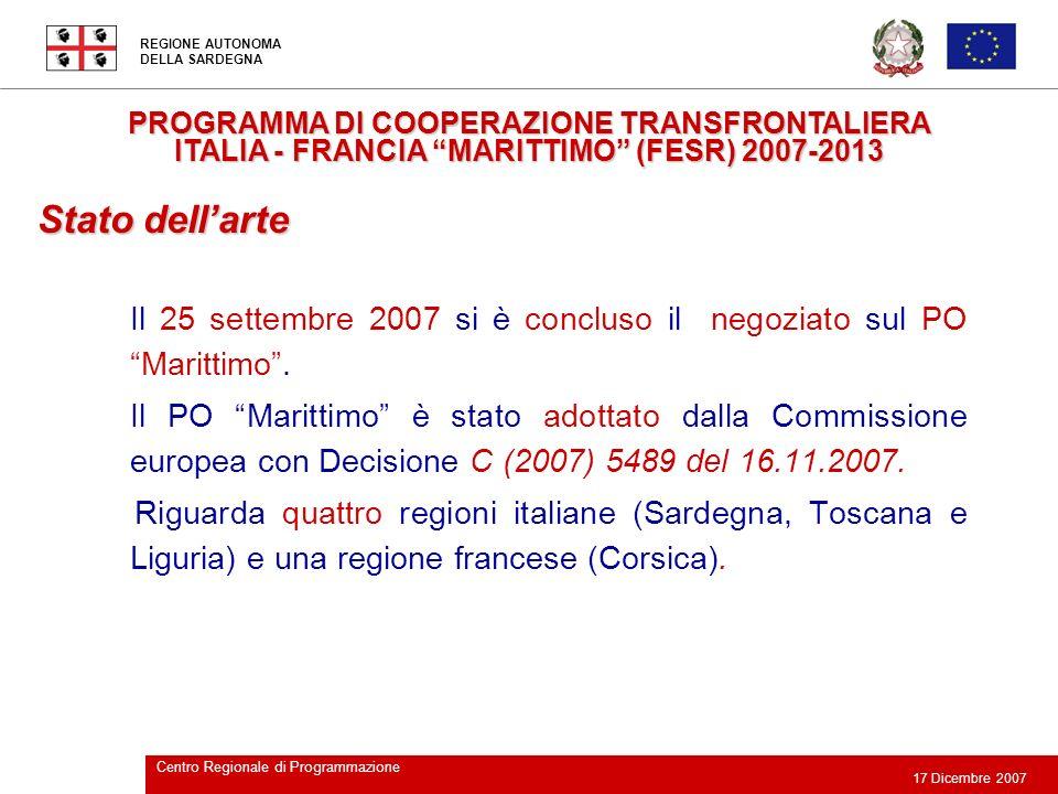 PROGRAMMA DI COOPERAZIONE TRANSFRONTALIERA ITALIA - FRANCIA MARITTIMO (FESR) 2007-2013