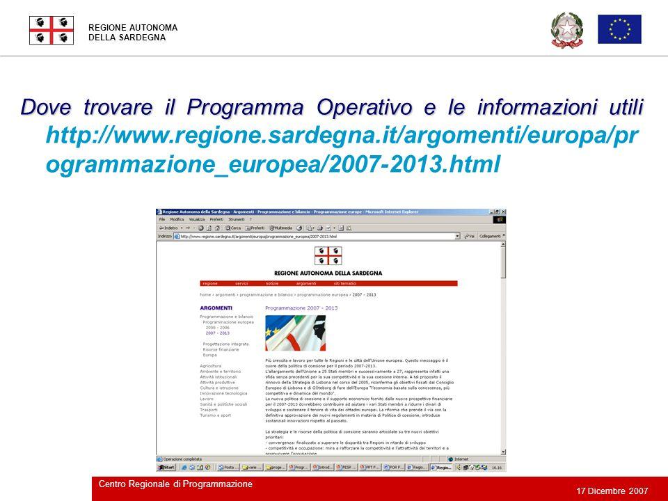 Dove trovare il Programma Operativo e le informazioni utili http://www