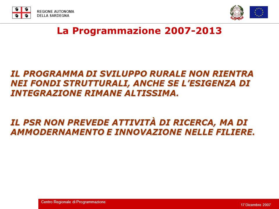 La Programmazione 2007-2013 IL PROGRAMMA DI SVILUPPO RURALE NON RIENTRA NEI FONDI STRUTTURALI, ANCHE SE L'ESIGENZA DI INTEGRAZIONE RIMANE ALTISSIMA.