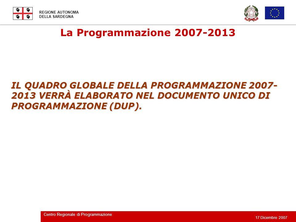 La Programmazione 2007-2013 IL QUADRO GLOBALE DELLA PROGRAMMAZIONE 2007-2013 VERRÀ ELABORATO NEL DOCUMENTO UNICO DI PROGRAMMAZIONE (DUP).