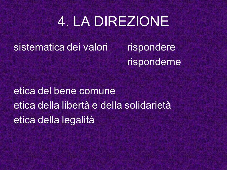 4. LA DIREZIONE sistematica dei valori rispondere risponderne