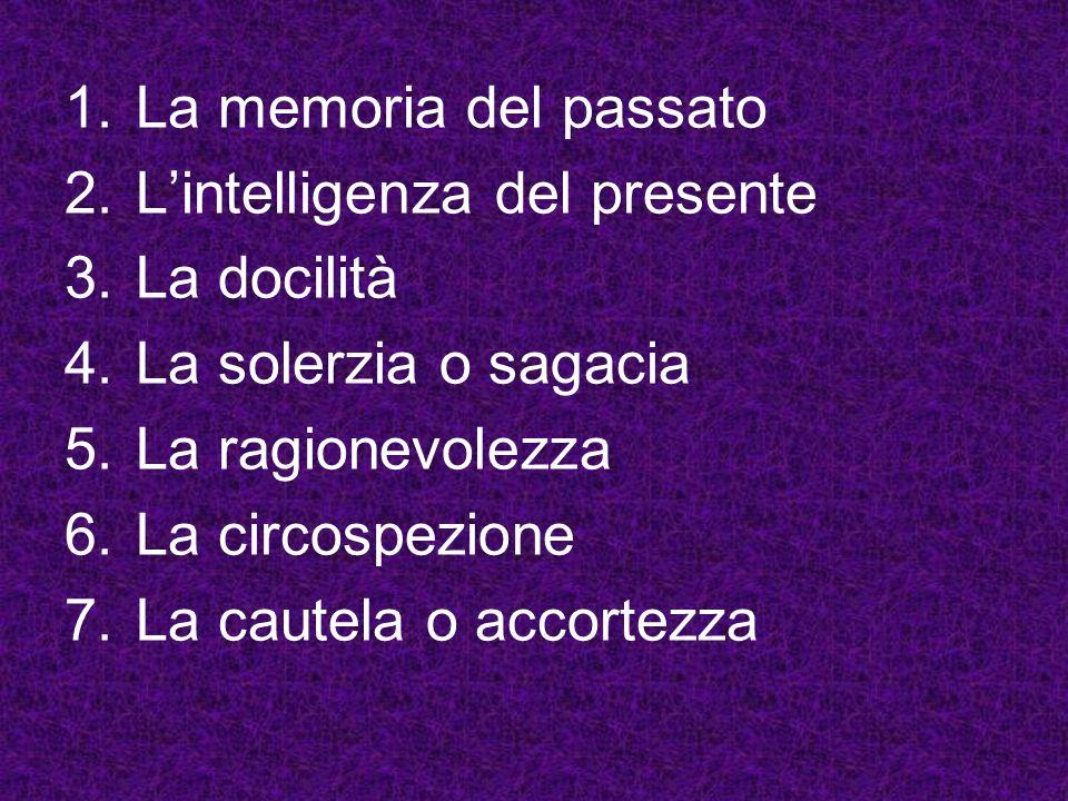 La memoria del passato L'intelligenza del presente. La docilità. La solerzia o sagacia. La ragionevolezza.