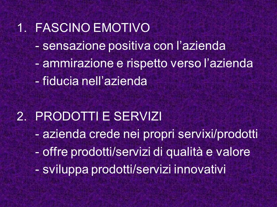 FASCINO EMOTIVO - sensazione positiva con l'azienda. - ammirazione e rispetto verso l'azienda. - fiducia nell'azienda.
