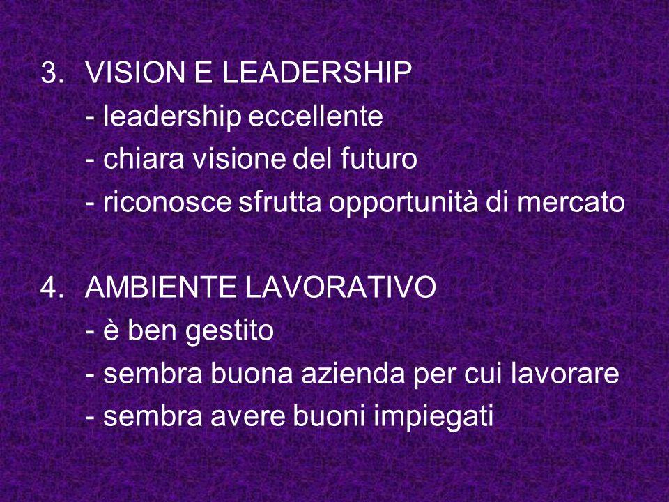 VISION E LEADERSHIP - leadership eccellente. - chiara visione del futuro. - riconosce sfrutta opportunità di mercato.