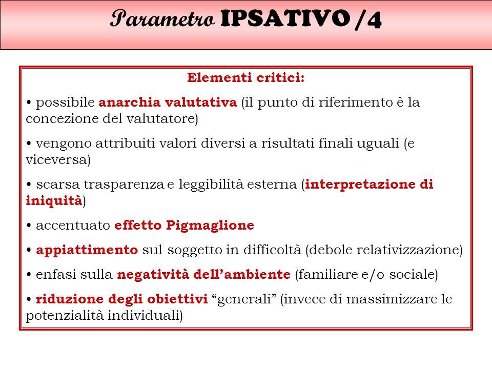 Parametro IPSATIVO /4 Elementi critici: