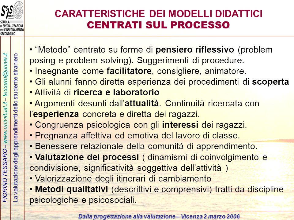 CARATTERISTICHE DEI MODELLI DIDATTICI