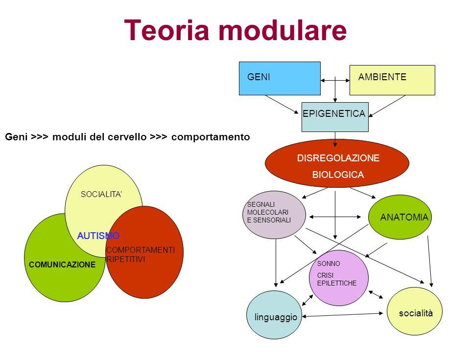 Teoria modulare GENI. AMBIENTE. EPIGENETICA. Geni >>> moduli del cervello >>> comportamento. DISREGOLAZIONE.
