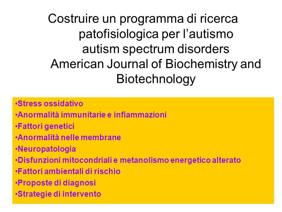 Costruire un programma di ricerca patofisiologica per l'autismo autism spectrum disorders American Journal of Biochemistry and Biotechnology