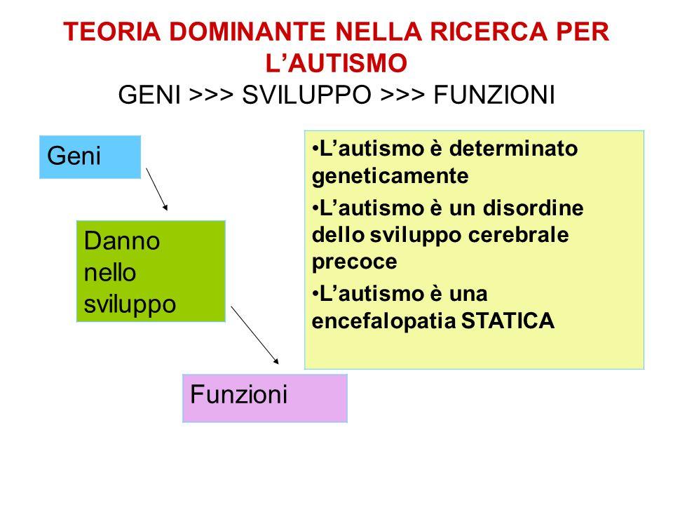 TEORIA DOMINANTE NELLA RICERCA PER L'AUTISMO GENI >>> SVILUPPO >>> FUNZIONI