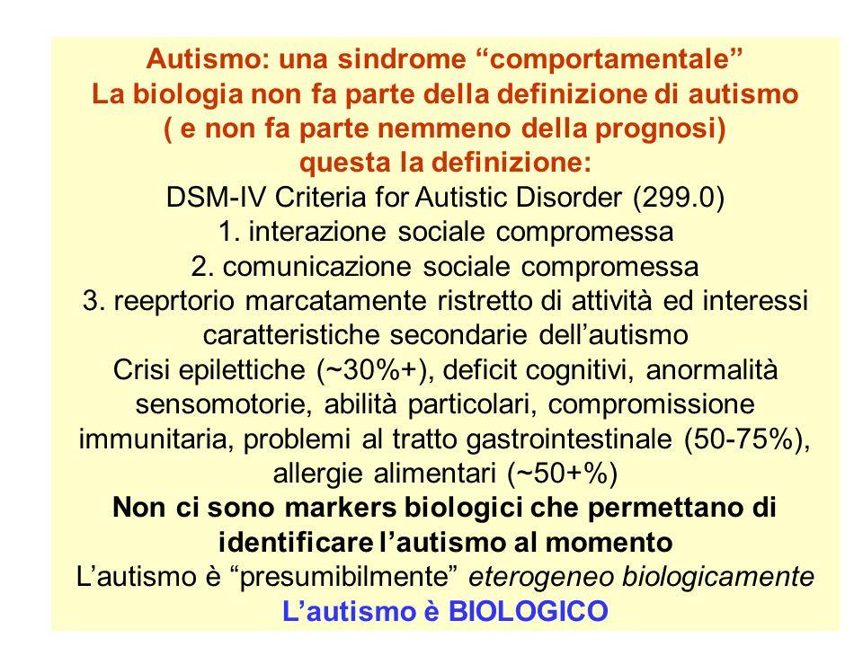 Autismo: una sindrome comportamentale