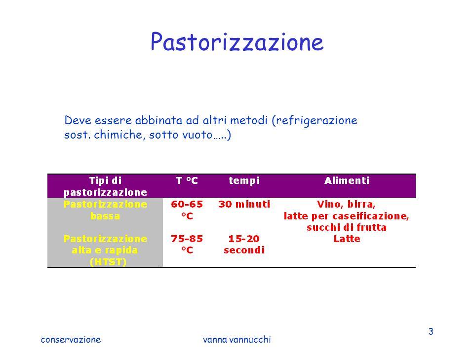 Pastorizzazione Deve essere abbinata ad altri metodi (refrigerazione sost. chimiche, sotto vuoto…..)