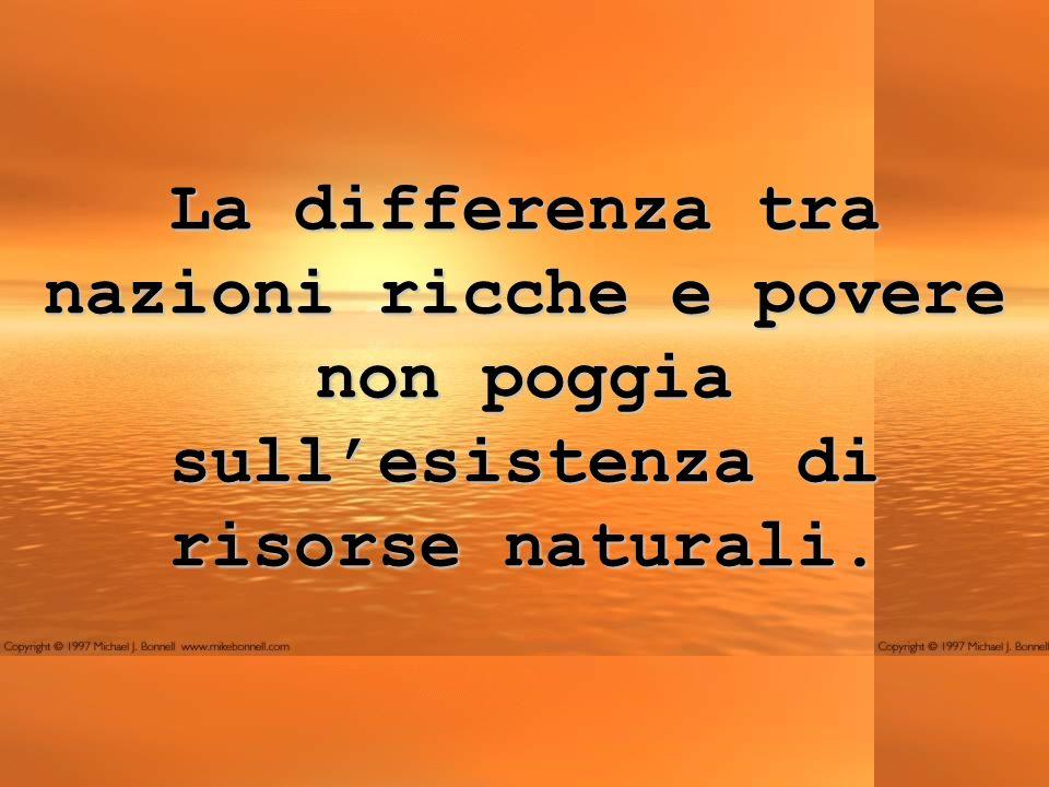 La differenza tra nazioni ricche e povere non poggia sull'esistenza di risorse naturali.