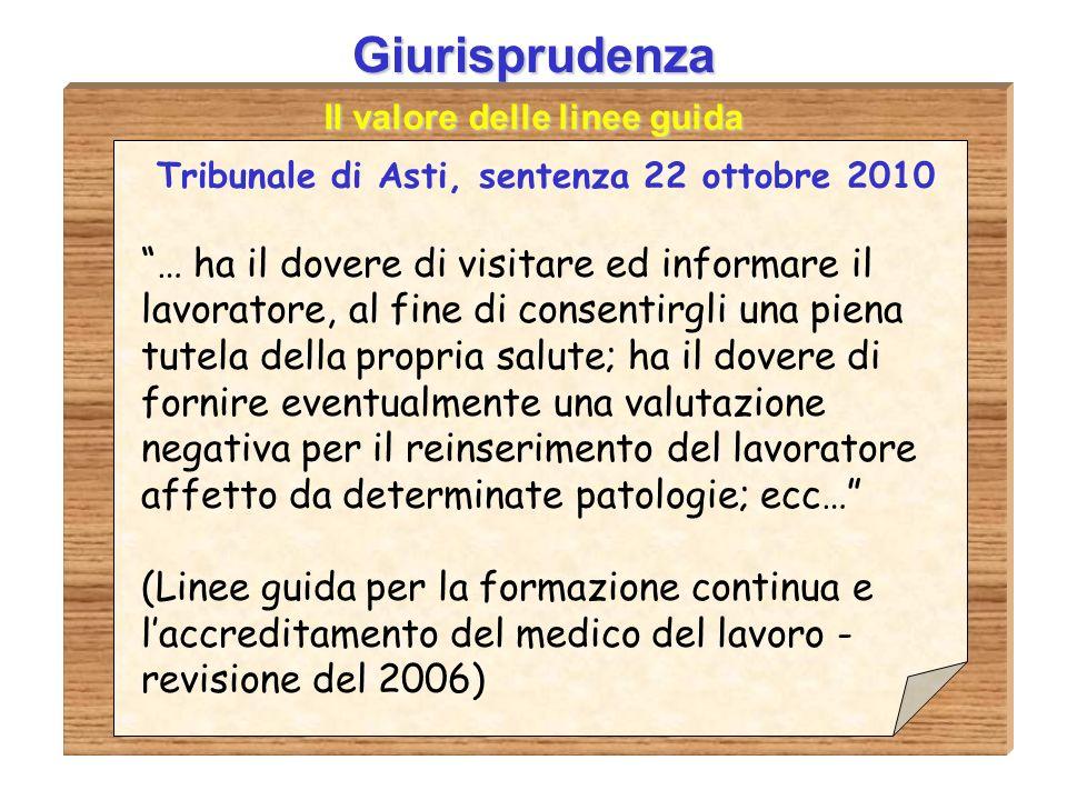 Giurisprudenza Il valore delle linee guida. Tribunale di Asti, sentenza 22 ottobre 2010.