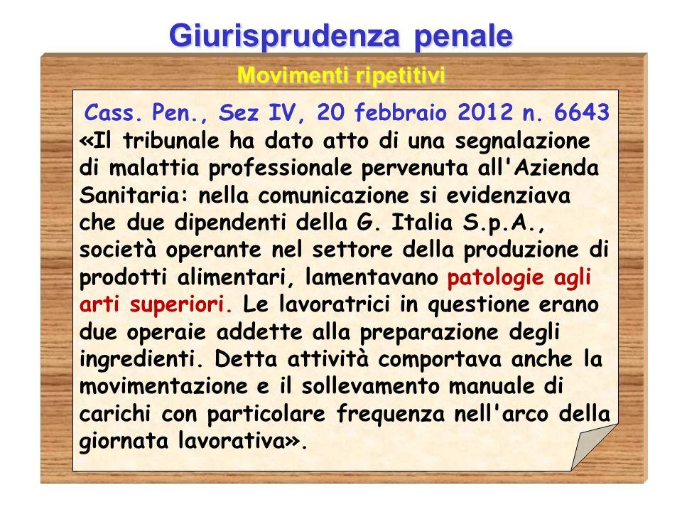 Giurisprudenza penale Cass. Pen., Sez IV, 20 febbraio 2012 n. 6643