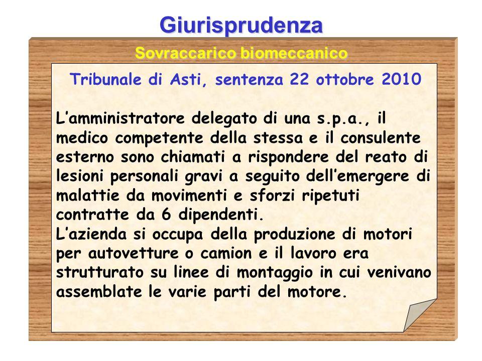 Sovraccarico biomeccanico Tribunale di Asti, sentenza 22 ottobre 2010