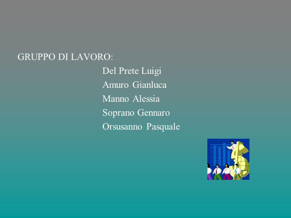 GRUPPO DI LAVORO: Del Prete Luigi Amuro Gianluca Manno Alessia Soprano Gennaro Orsusanno Pasquale