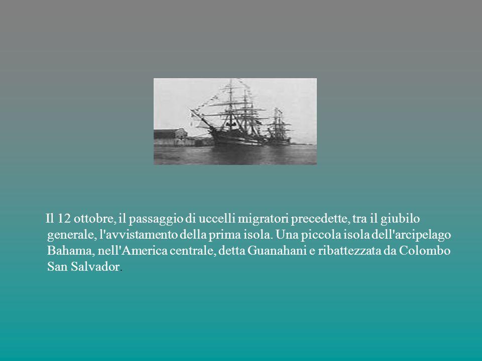 Il 12 ottobre, il passaggio di uccelli migratori precedette, tra il giubilo generale, l avvistamento della prima isola.